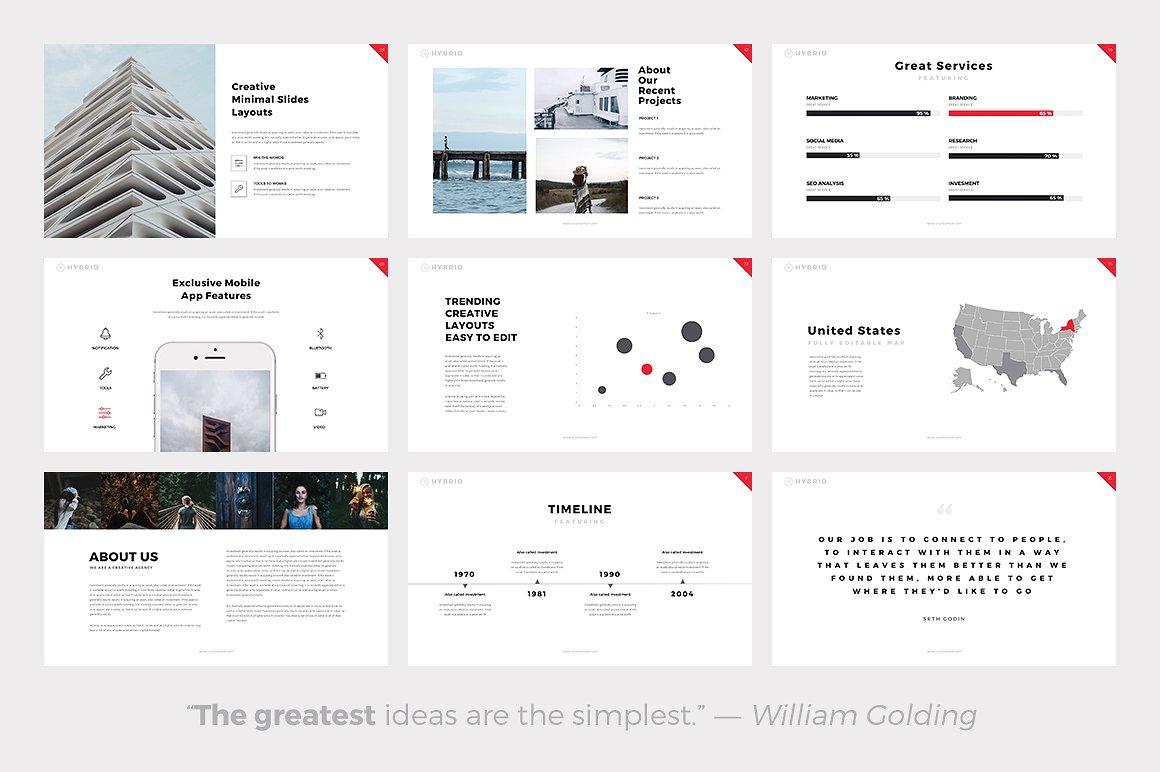 Hybrid Minimal Templates - PowerPoint Templates - Keynote Themes - Google Slides