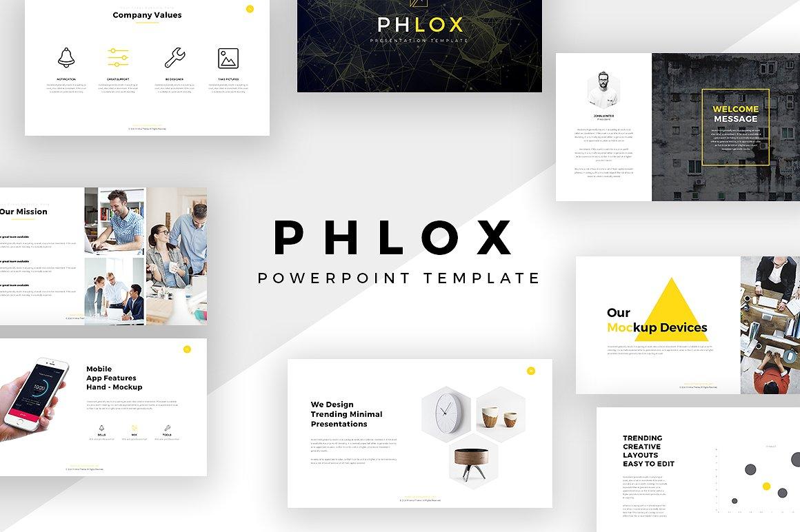 phlox minimal powerpoint template, Minimal Presentation Template, Presentation templates