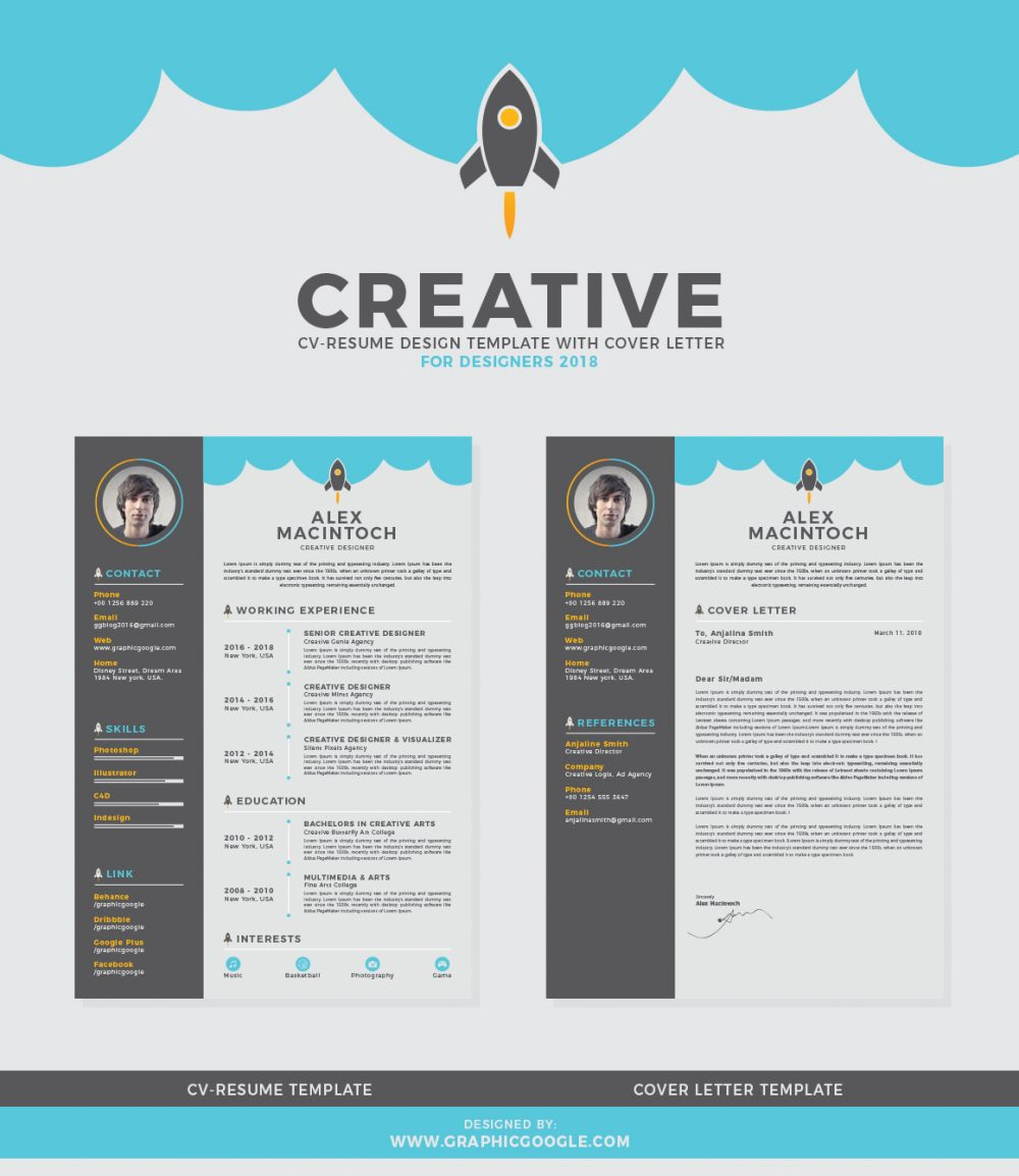 Free Creative CV Resume Design Template With Cover Letter (AI)