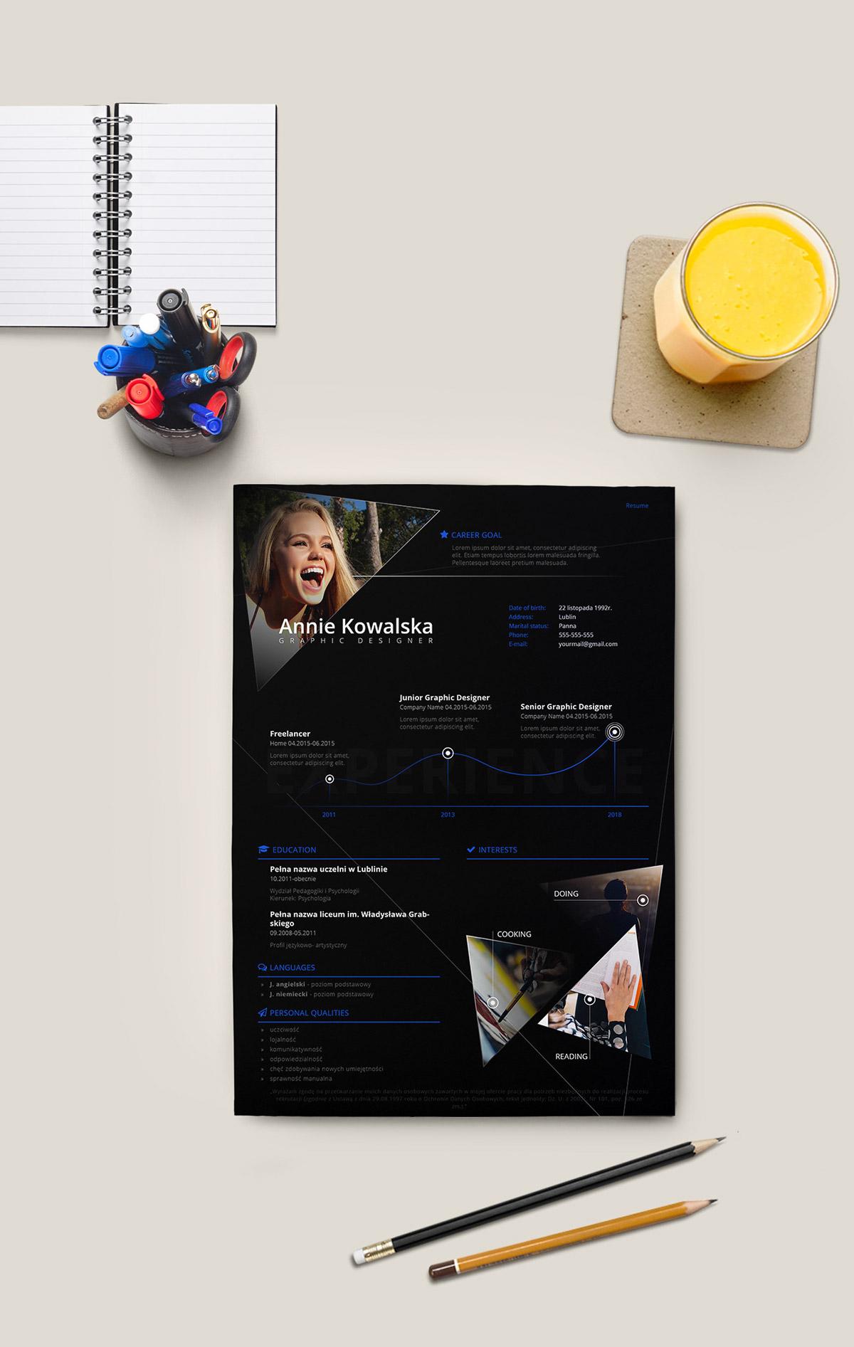 Free Minimalistic Resume/CV - InDesign
