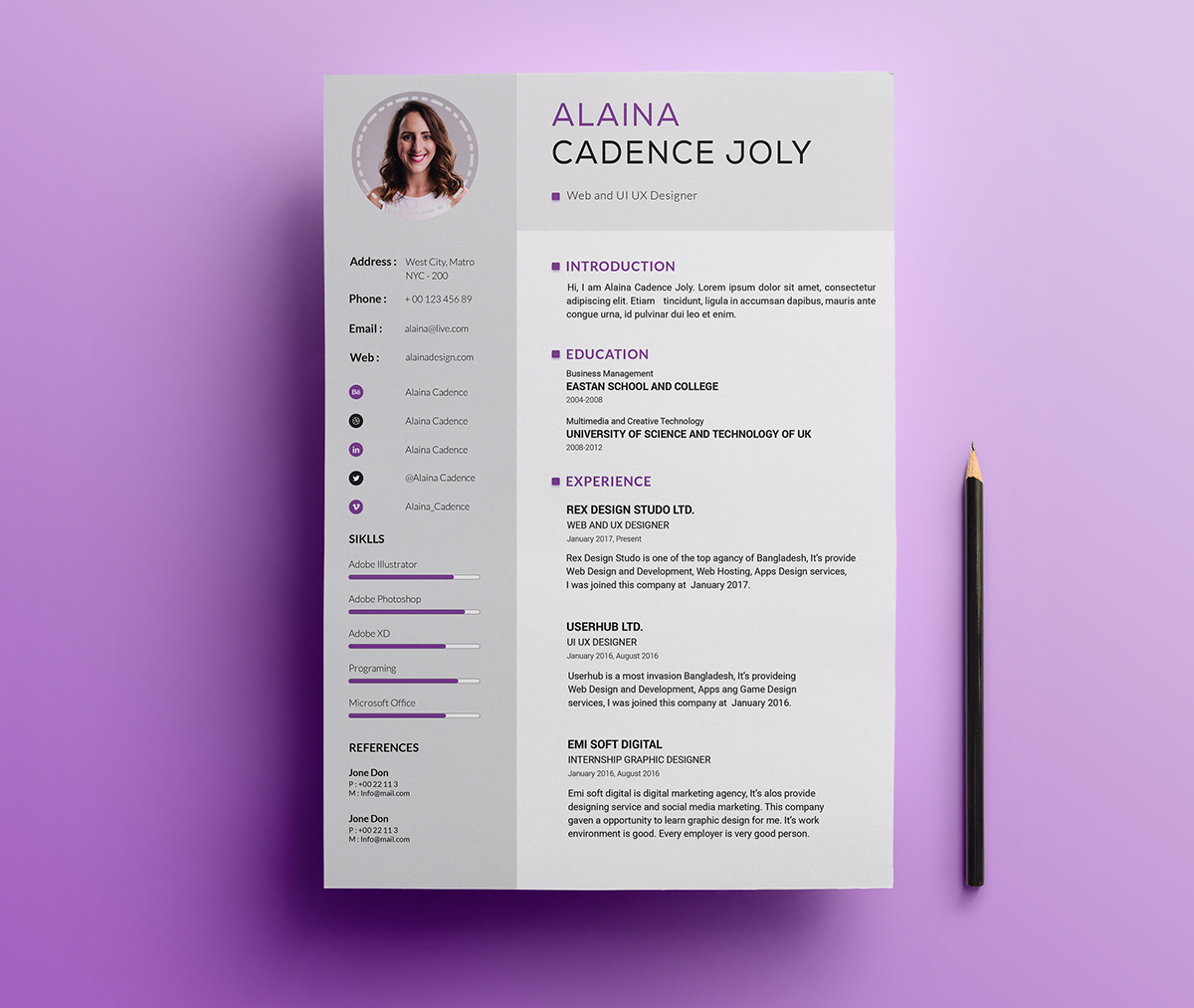 Free Professional Resume Template With Cover Letter PSD