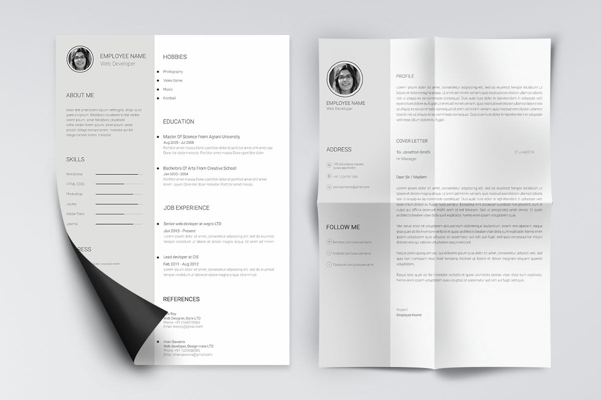 Minimal and Clean Resume Template PSD
