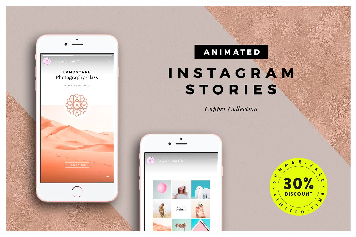 7. ANIMATED Copper Instagram Stories