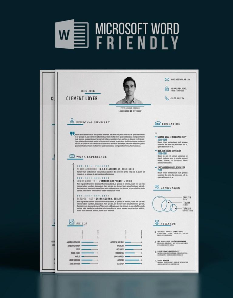 12. Precise Blue - Word Resume Template