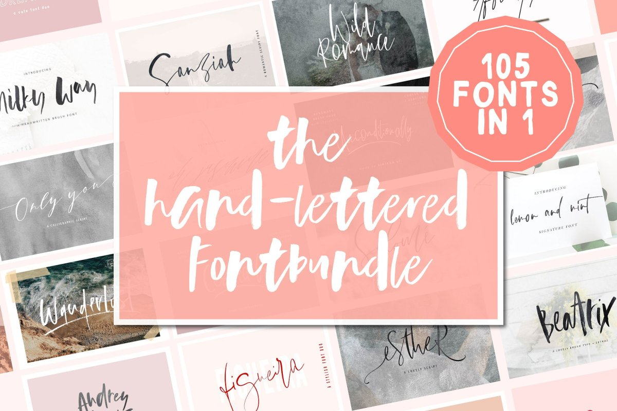 14. 105 in 1 Hand-Lettered Font Bundle