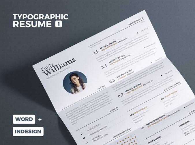 26. Typographic Resume Template