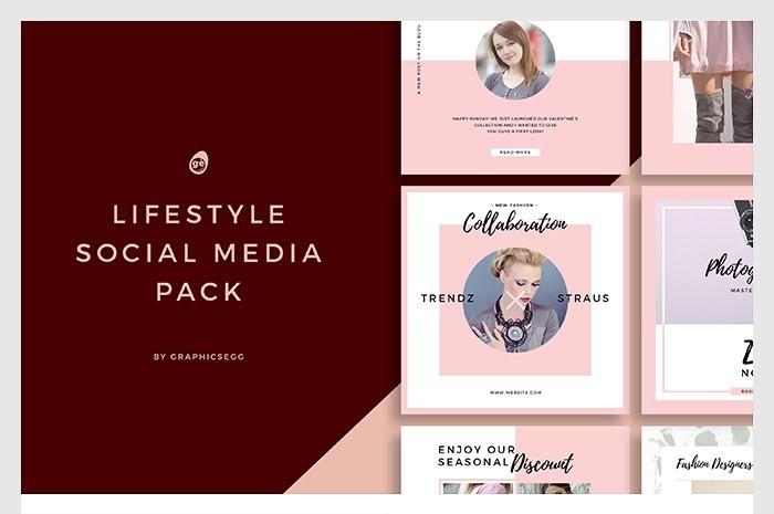 37. Lifestyle Social Media Instagram Templates PSD