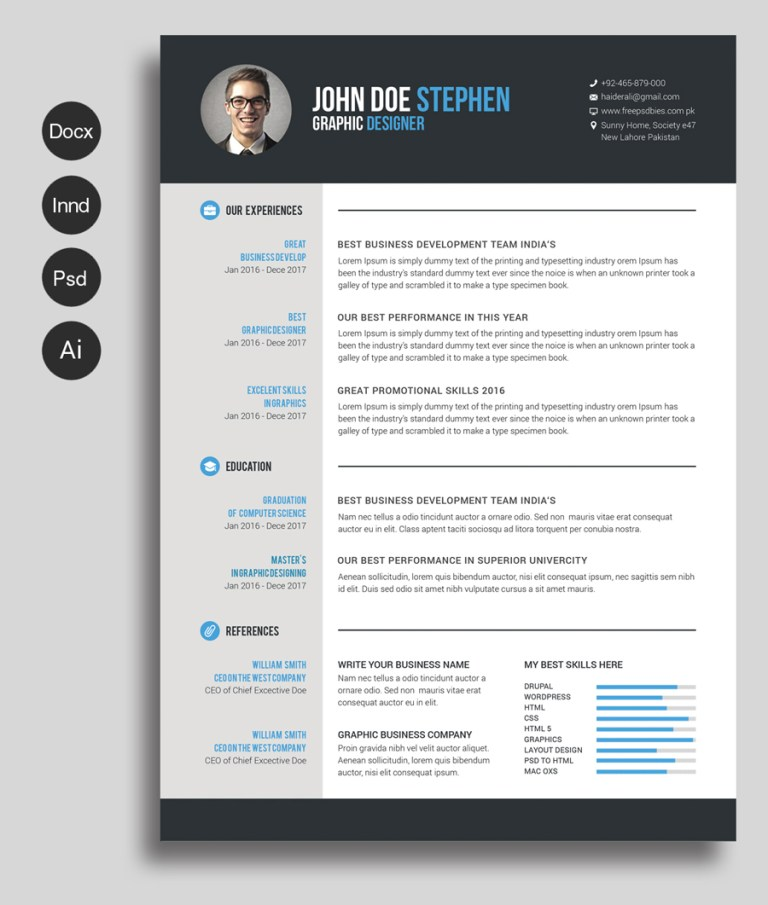 6. Free Ms. Word Resume and CV Template