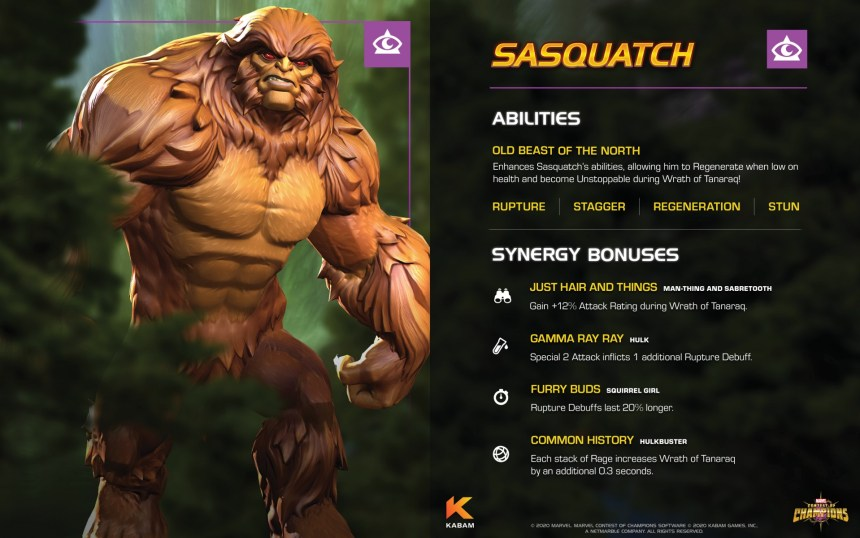 Marvel Contest of Champions Sasquatch