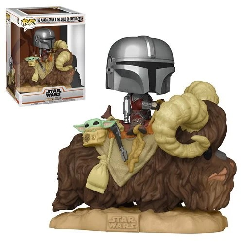 Star Wars: The Mandalorian Mando on Bantha with Child in Bag Deluxe Pop! Vinyl Figure