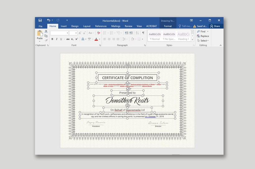 Certificate With MS Word