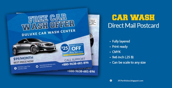 Free Car Wash / Car Service Business promotional EDDM Postcard Template