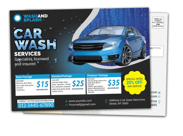 Car Wash Direct Mail Eddm Postcard Template