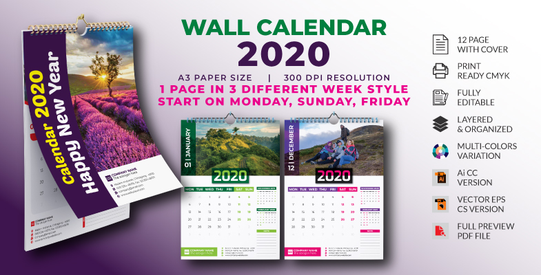 12 Page Wall Calendar 2020 Cover Preview