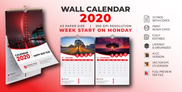 BUSINESS WALL CALENDAR 2020