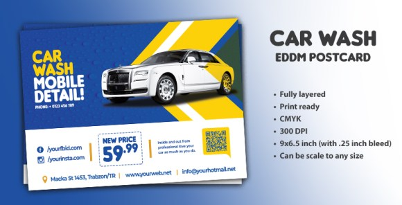 CAR WASH EDDM POSTCARD TEMPLATE
