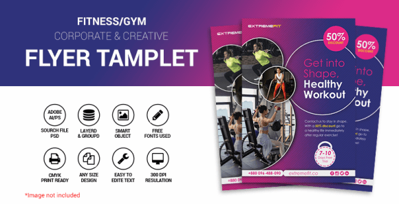 Fitness-gym creative flyer Template
