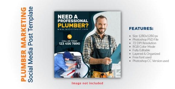 PLUMBER SERVICES SOCIAL MEDIA POST TEMPLATE DESIGN