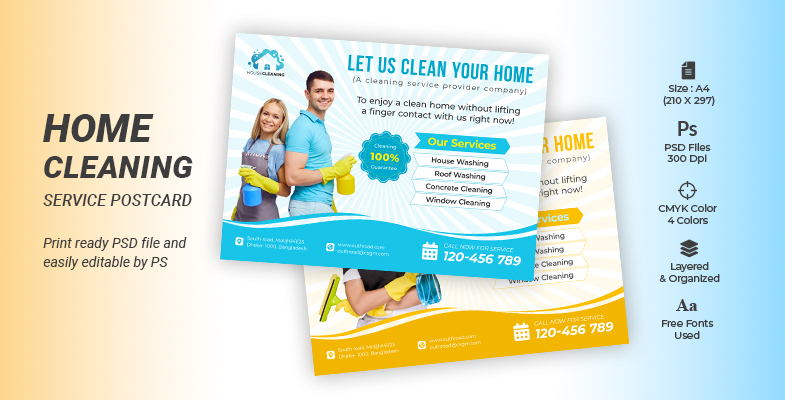 Home Cleaning Services fourecloser eddm Postcard Template cover image