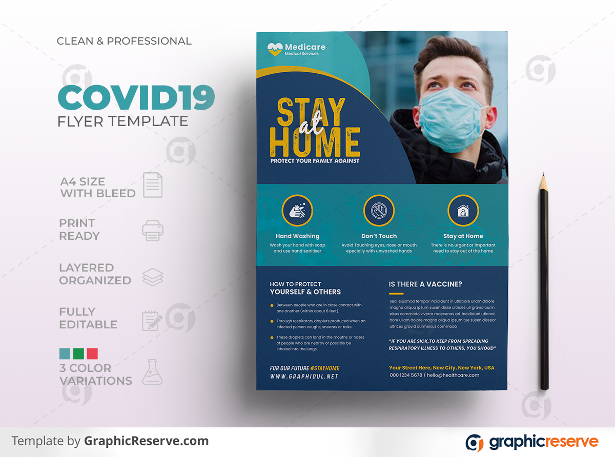 Covid19 Coronavirus Medical Health Flyer Template Preview