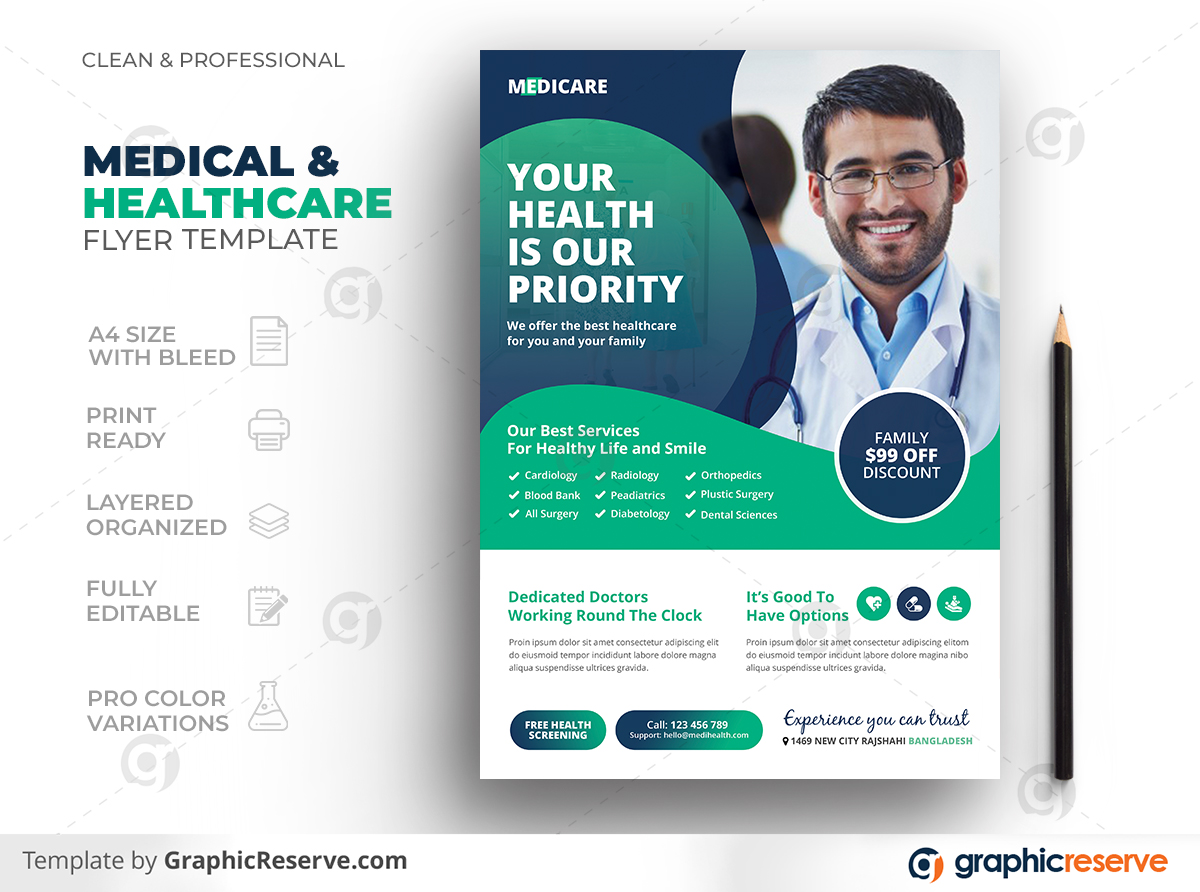 Healthcare Medical Pharmacy Screening Medicine Hospital Flyer Template Preview
