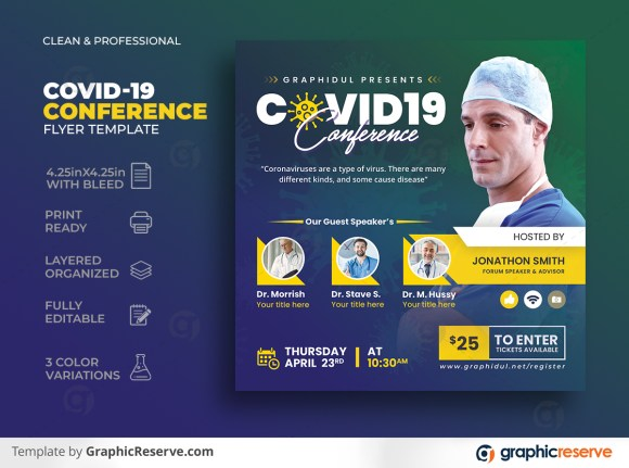 Coronavirus Covid19 Conference Square Flyer Template