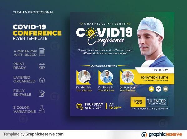 Coronavirus Covid19 Conference Square Flyer Template