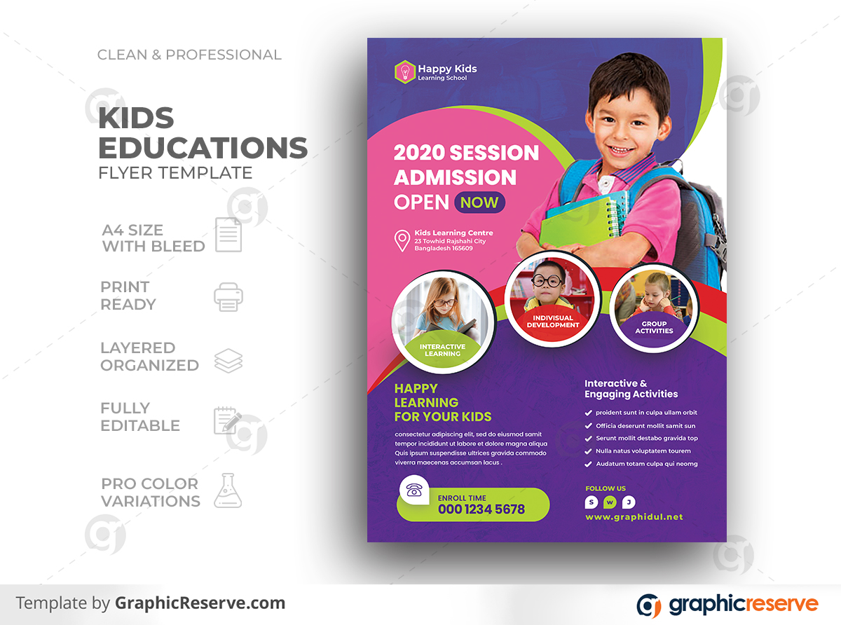 Kids School Learning Education Admission Flyer Template Preview
