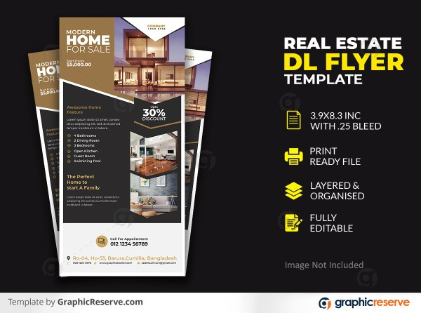 Modern Home Real Estate DL Flyer Template
