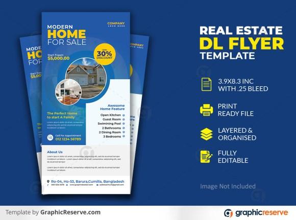 Elegant Home Real Estate DL Flyer Template Premium PSD