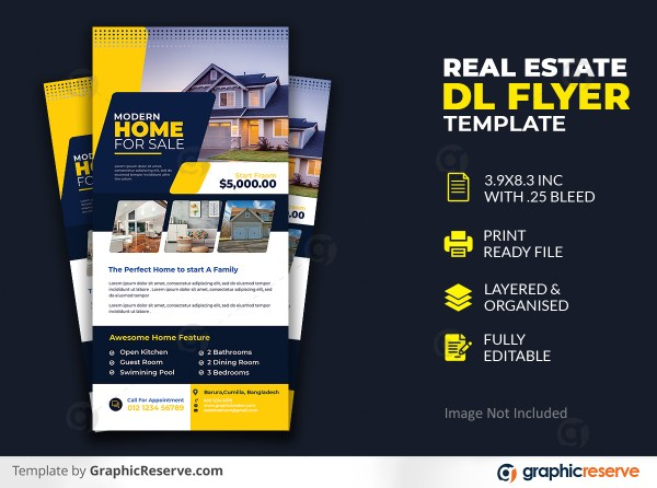 Real Estate Dl Flyer Premium PSD Template Design