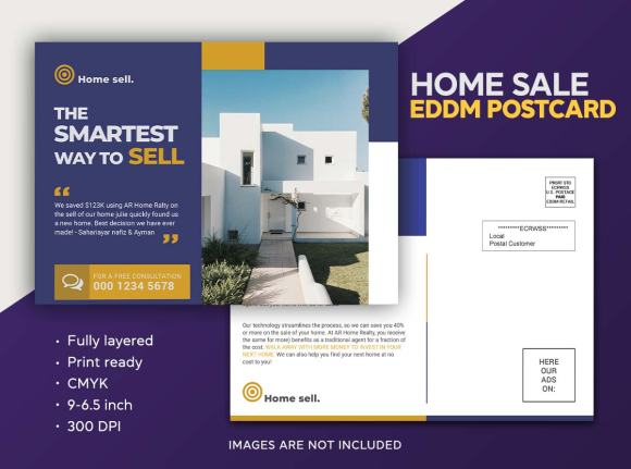 Real Estate Home for sale Eddm postcard design template