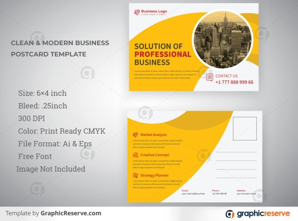 Minimal Industrial Postcard Template Design For Professional Business