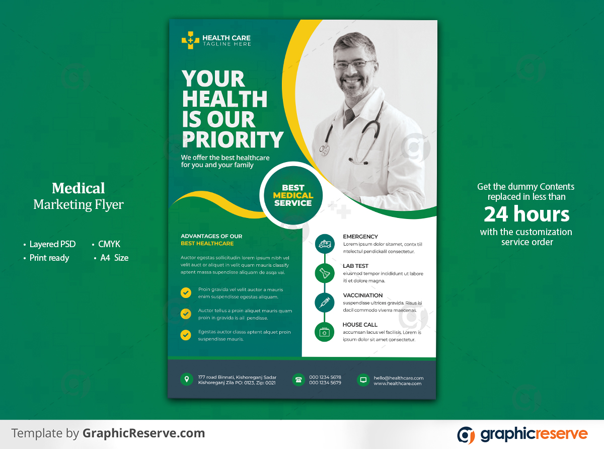 Multipurpose Medical Healthcare Flyer Template Preview 1 by deavstock