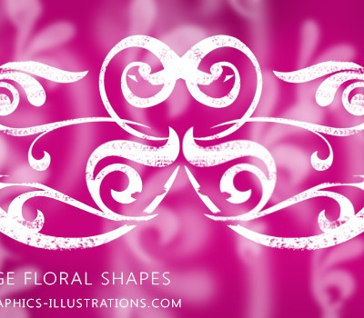 Download free photoshop brushes: Grunge Floral shapes
