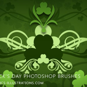 Download St. Patrick's Day themed Photoshop brushes