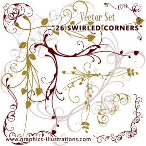 Swirled Corners Vector set (26 photo corners)