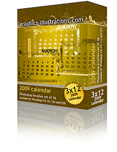New Photoshop Brushes – Calendar 2009