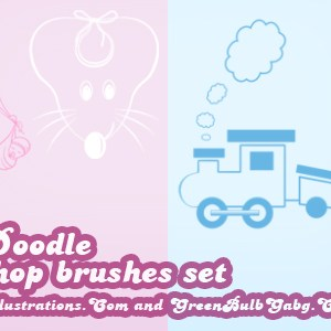 Baby Doodle Photoshop Brushes (png formats included)