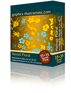 Hawaiian (Hibiscus) Flowers Photoshop Brushes set