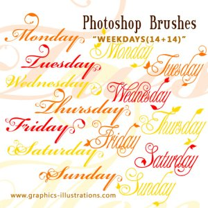 Photoshop brush: Weekdays