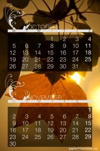 Autumn October / November Calendar Wallpaper download