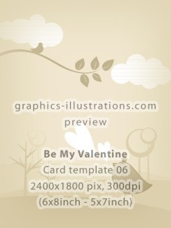 Valentine's Day Cards Design Templates Pack - 6 cards in pack