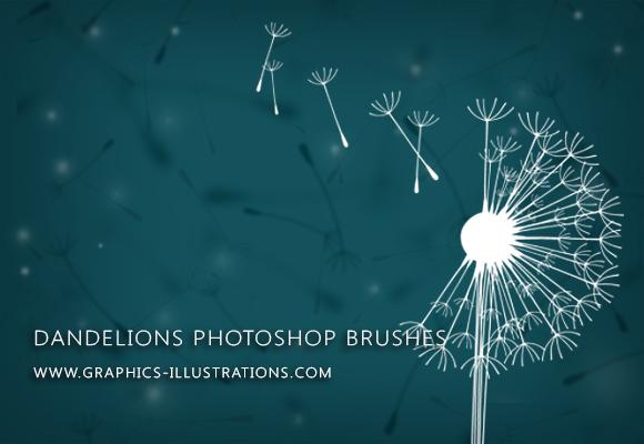 Dandelions Digital Stamps (Photoshop Brushes)