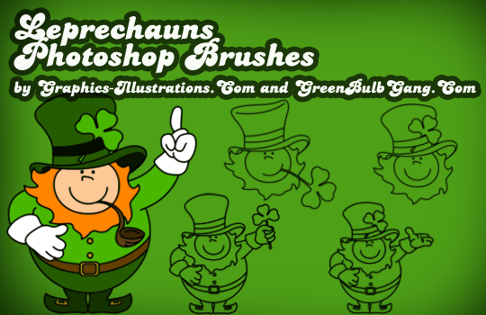 St. Patrick's Day Photoshop brushes - Leprechauns!