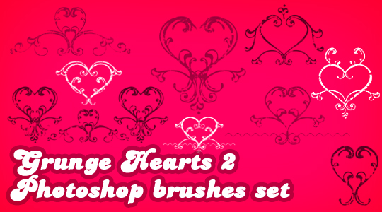 Grunge Hearts Photoshop brushes