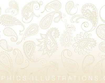 Simple and Elegant Wedding Invitation, Paisley Design