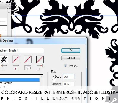 How To Color and resize Pattern Brush in Adobe Illustrator cs3