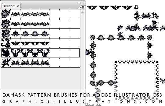 Download Damask Pattern brushes for Adobe Illustrator CS3