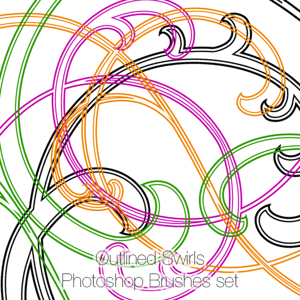 Outlined Swirls Photoshop Brushes Set (23)